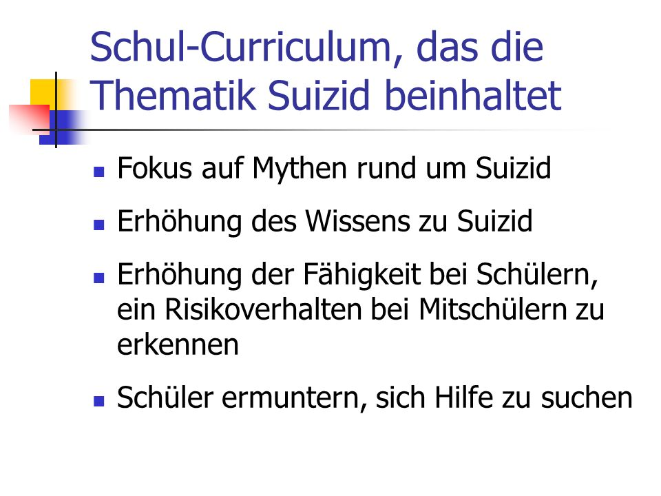 Schul-Curriculum, das die Thematik Suizid beinhaltet
