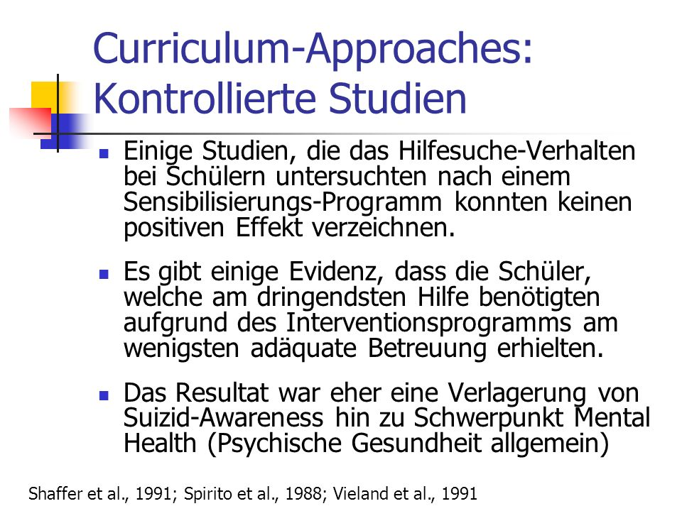 Curriculum-Approaches: Kontrollierte Studien