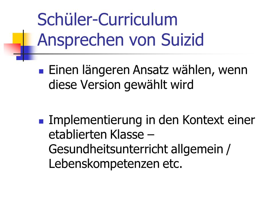 Schüler-Curriculum Ansprechen von Suizid