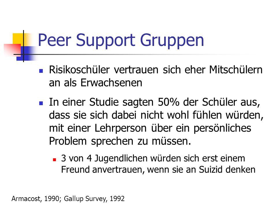 Peer Support Gruppen Risikoschüler vertrauen sich eher Mitschülern an als Erwachsenen.
