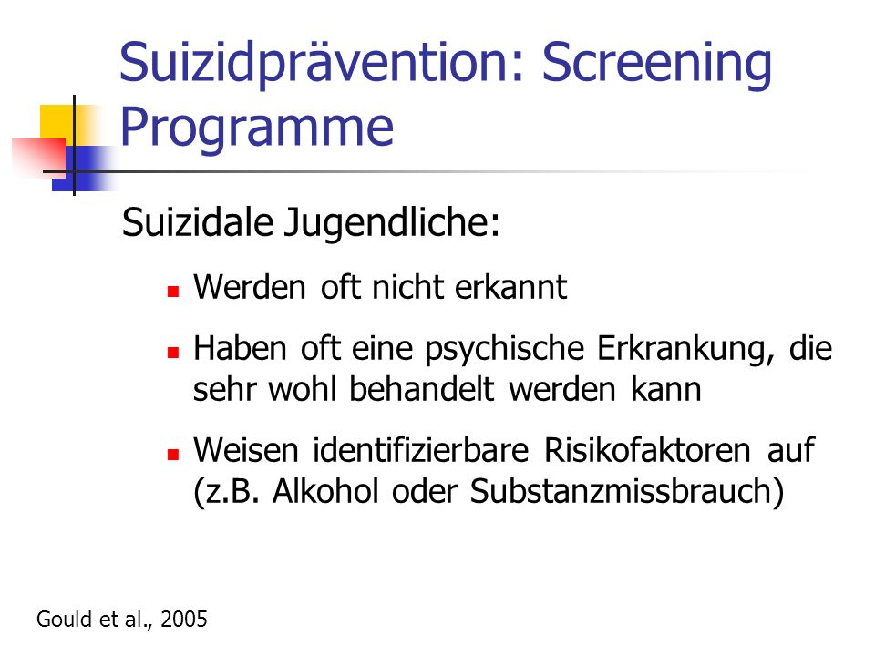 Suizidprävention: Screening Programme