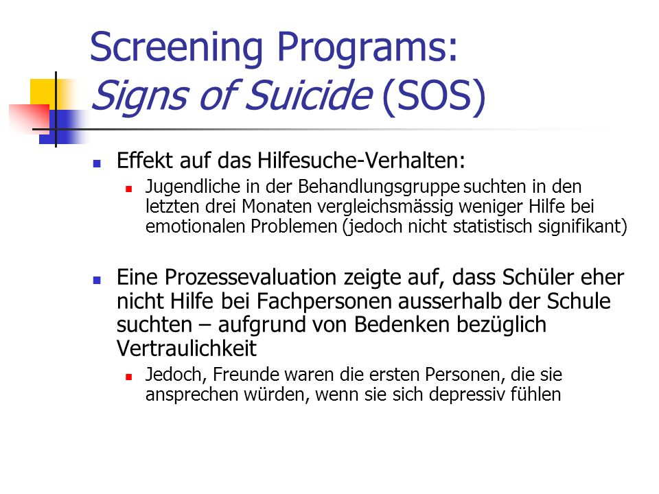 Screening Programs: Signs of Suicide (SOS)