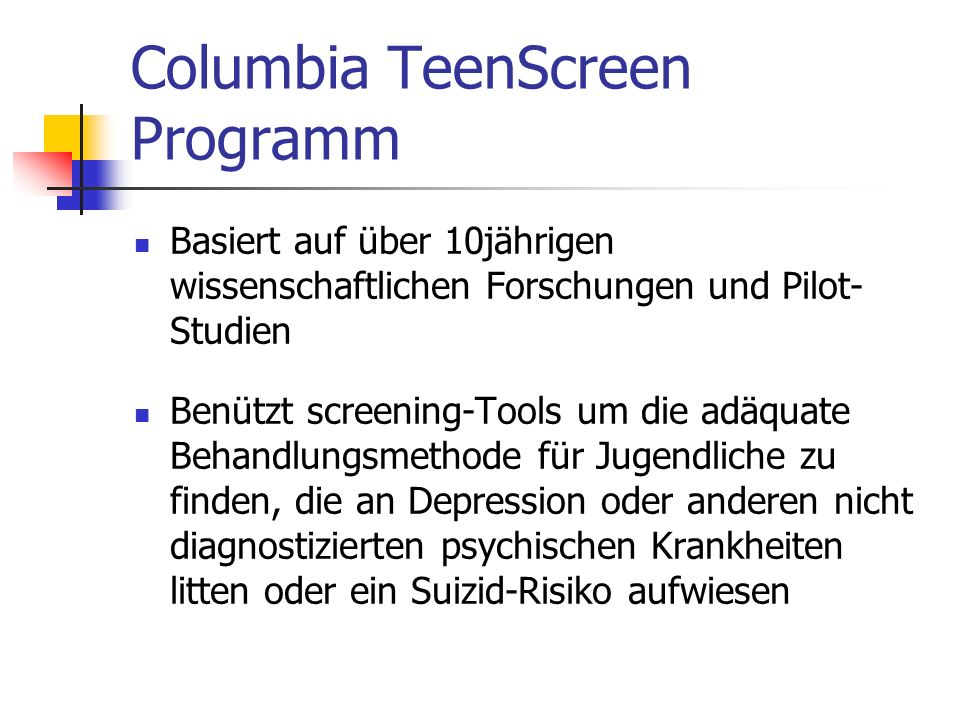 Columbia TeenScreen Programm