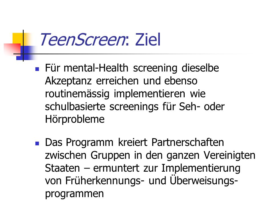 TeenScreen: Ziel