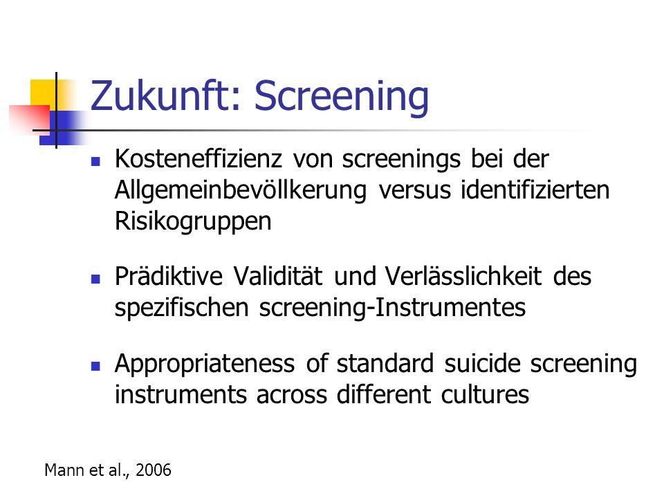 Zukunft: Screening Kosteneffizienz von screenings bei der Allgemeinbevöllkerung versus identifizierten Risikogruppen.