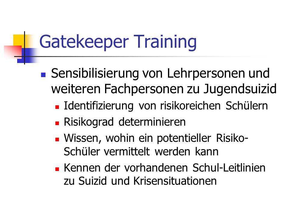 Gatekeeper Training Sensibilisierung von Lehrpersonen und weiteren Fachpersonen zu Jugendsuizid. Identifizierung von risikoreichen Schülern.