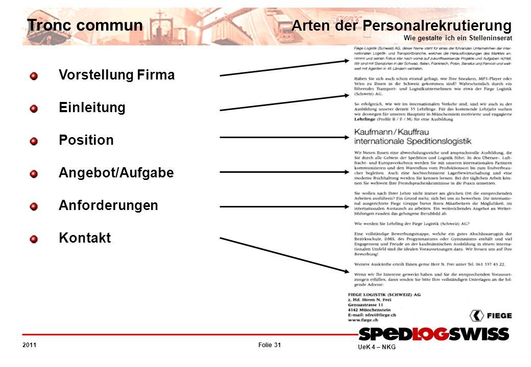 Tronc commun Arten der Personalrekrutierung Wie gestalte ich ein Stelleninserat. Vorstellung Firma.