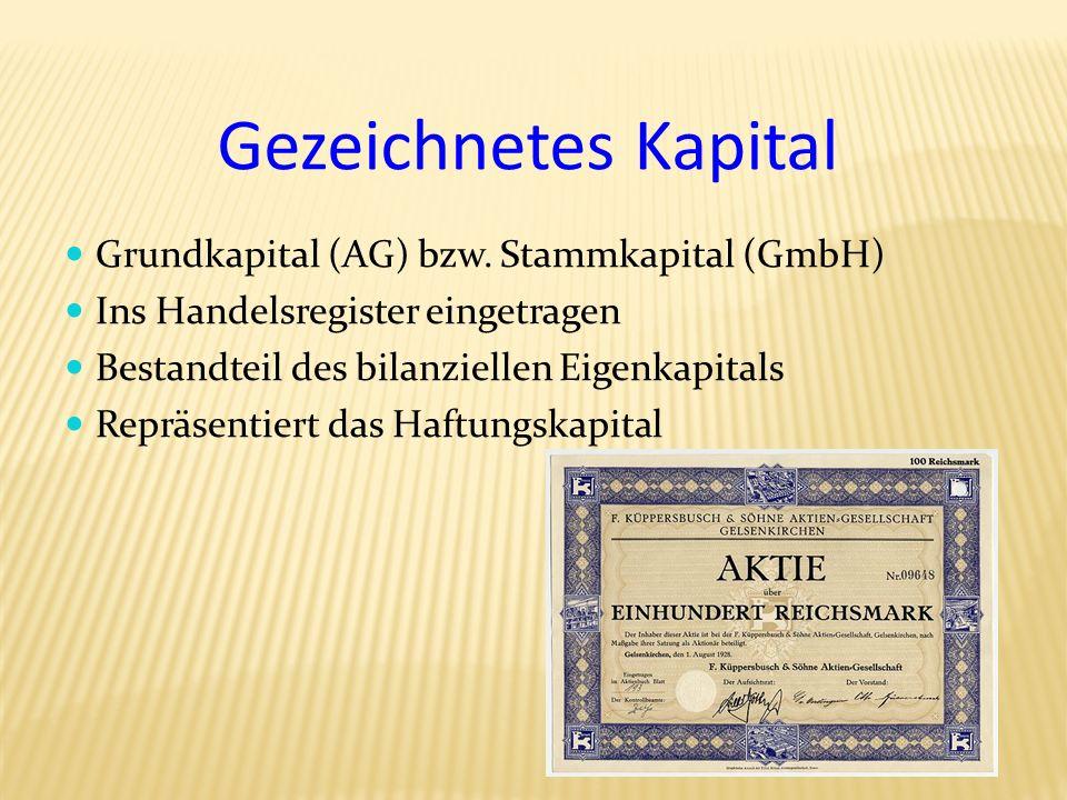 Gezeichnetes Kapital Grundkapital (AG) bzw. Stammkapital (GmbH)