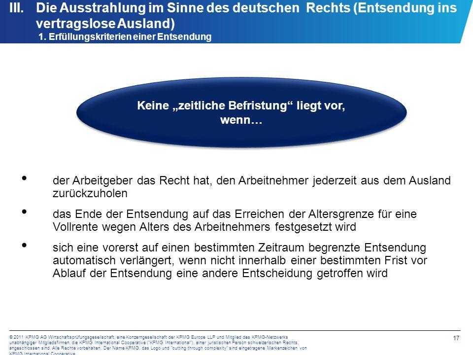 III. Die Ausstrahlung im Sinne des deutschen Rechts (Entsendung ins vertragslose Ausland) Beispielsfall