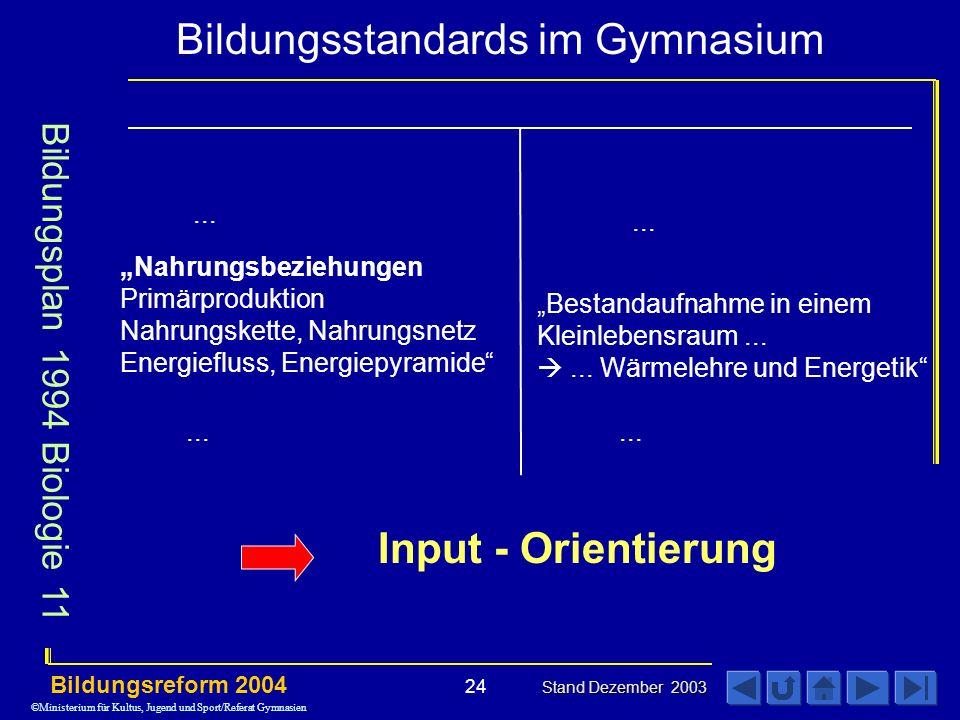 Input - Orientierung Bildungsplan 1994 Biologie 11 ... ...