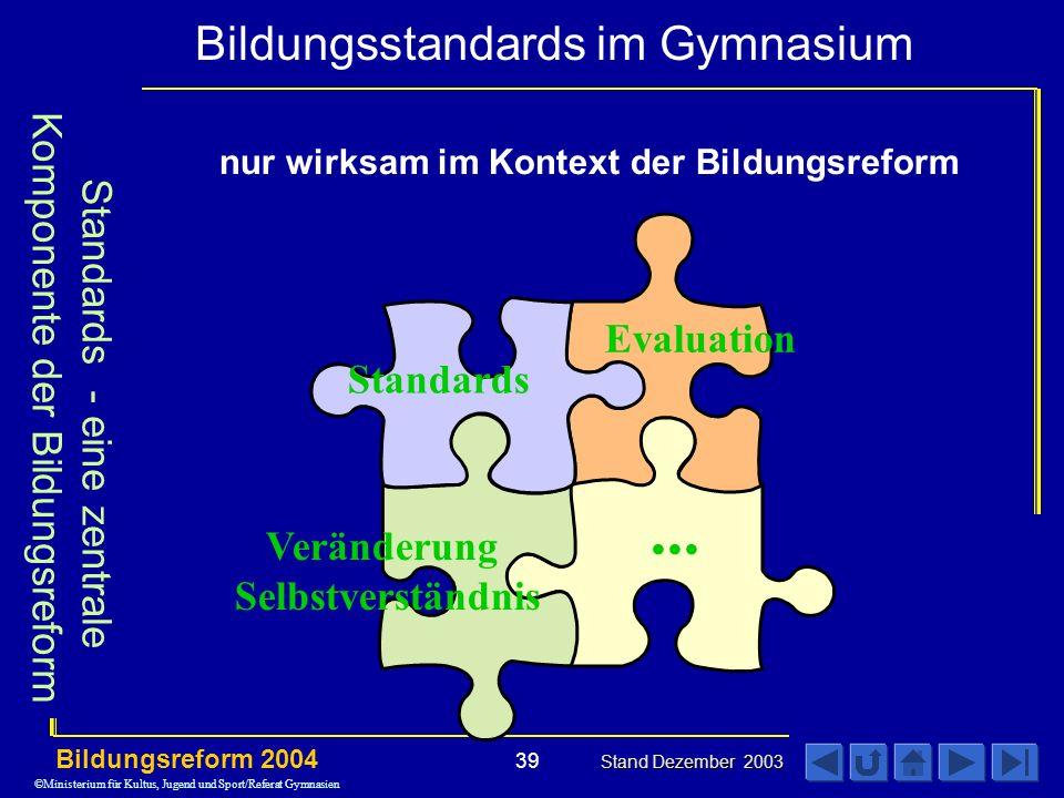... Standards - eine zentrale Komponente der Bildungsreform Evaluation