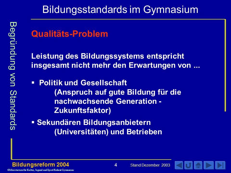 Begründung von Standards Qualitäts-Problem