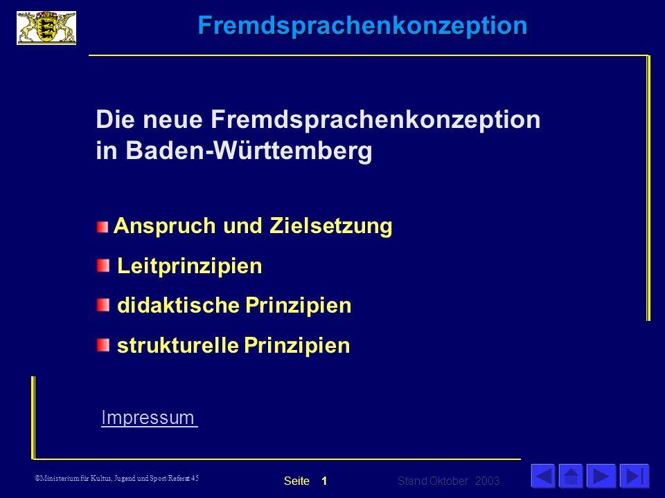 Die neue Fremdsprachenkonzeption in Baden-Württemberg
