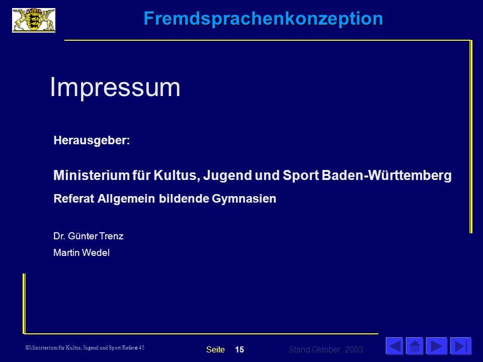 Impressum Ministerium für Kultus, Jugend und Sport Baden-Württemberg