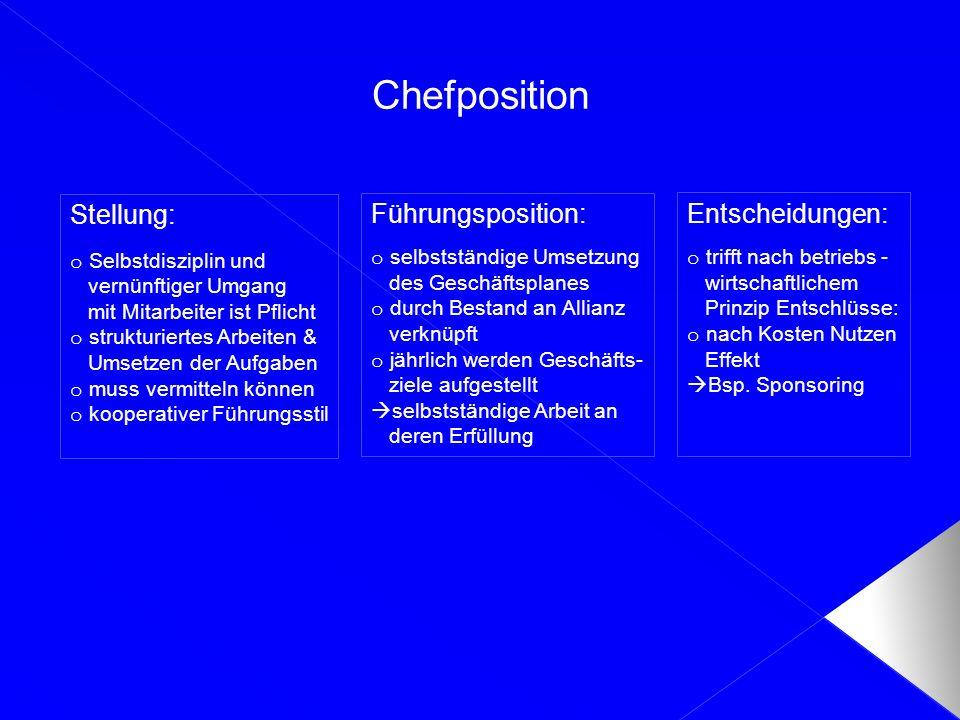 Chefposition Stellung: Führungsposition: Entscheidungen: