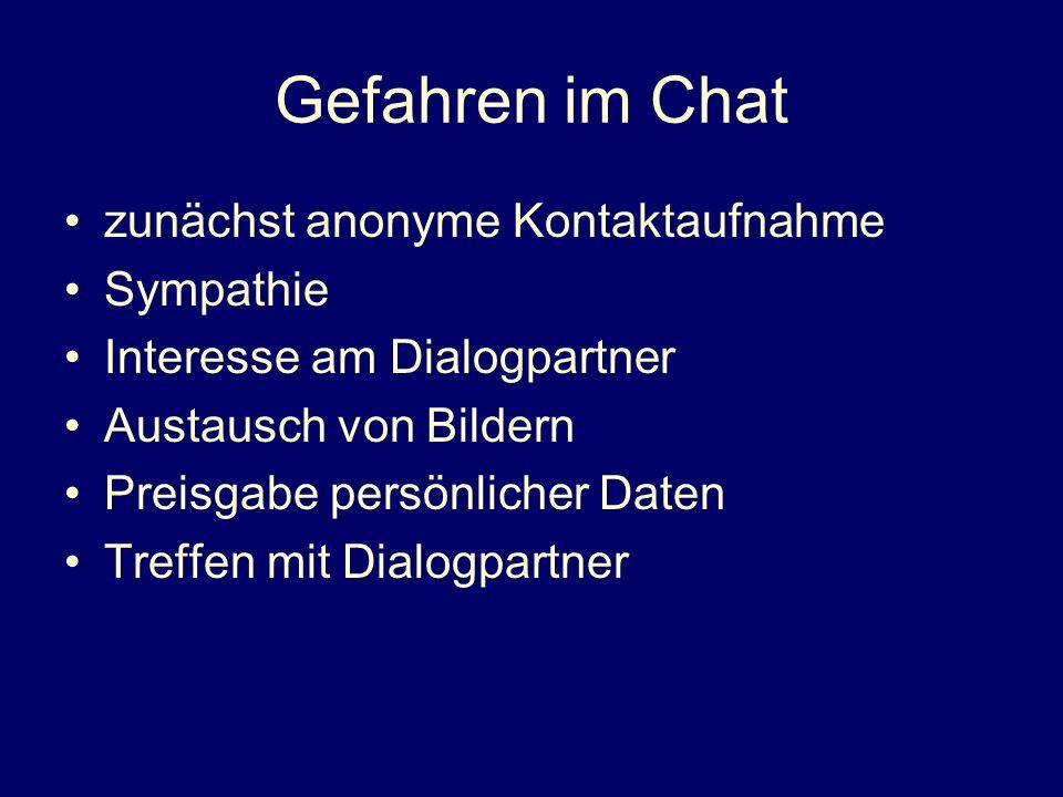 Gefahren im Chat zunächst anonyme Kontaktaufnahme Sympathie