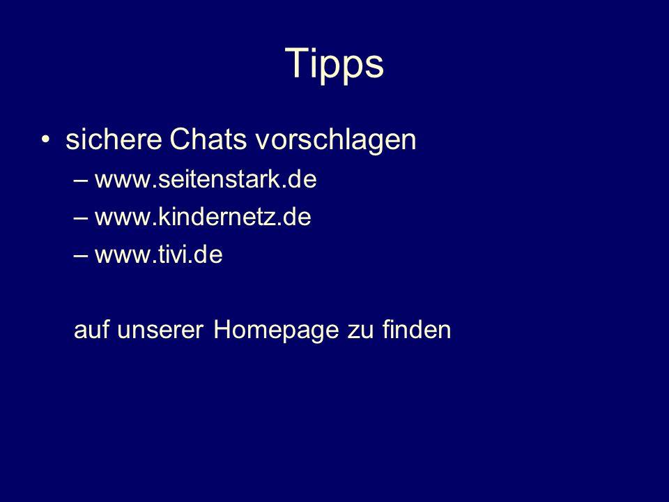 Tipps sichere Chats vorschlagen www.seitenstark.de www.kindernetz.de