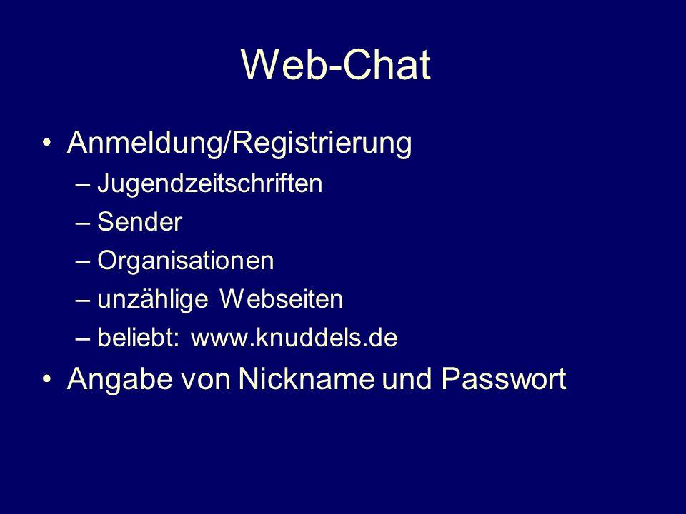Web-Chat Anmeldung/Registrierung Angabe von Nickname und Passwort