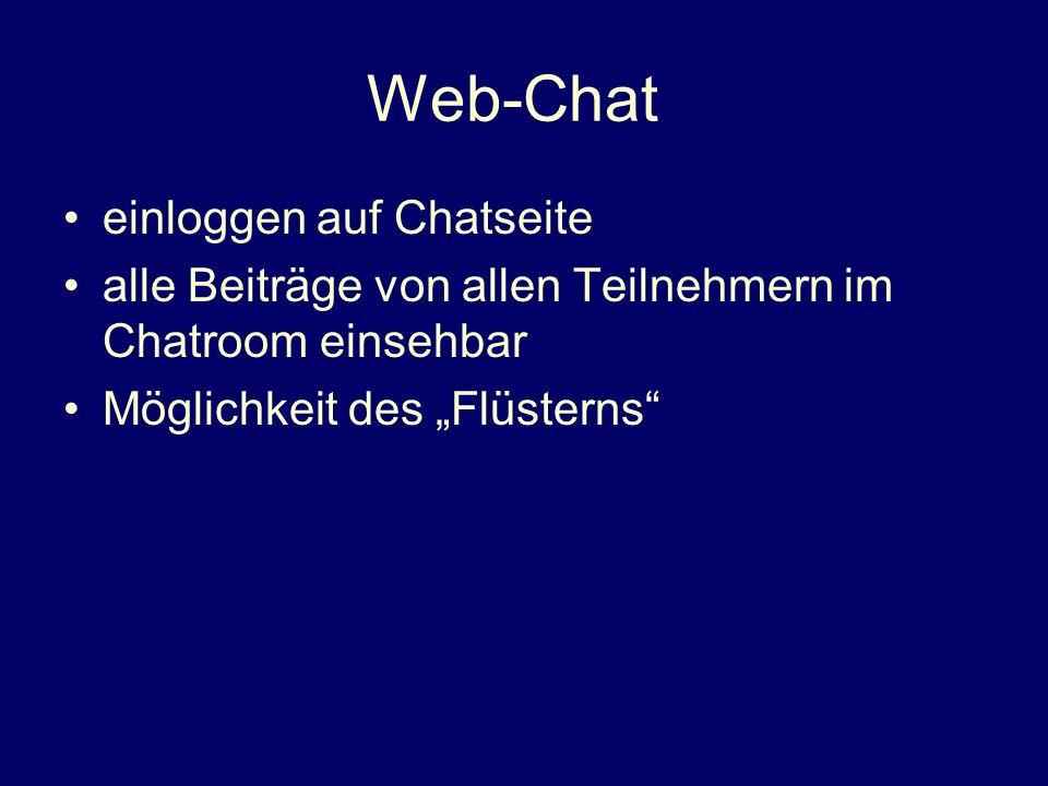 Web-Chat einloggen auf Chatseite