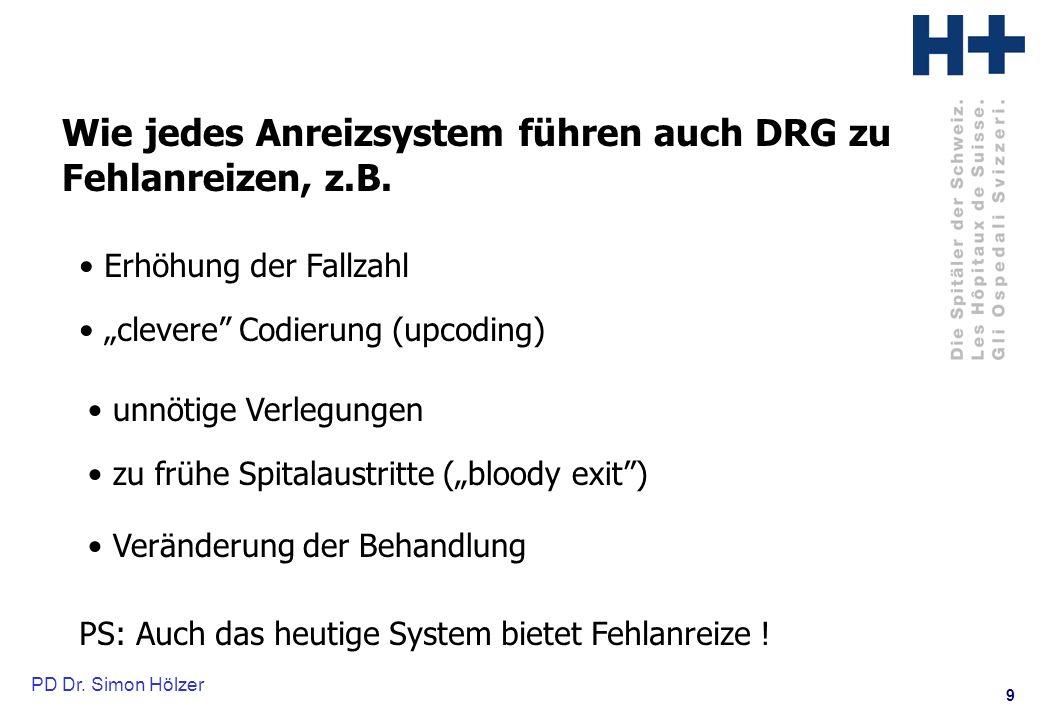 Wie jedes Anreizsystem führen auch DRG zu Fehlanreizen, z.B.