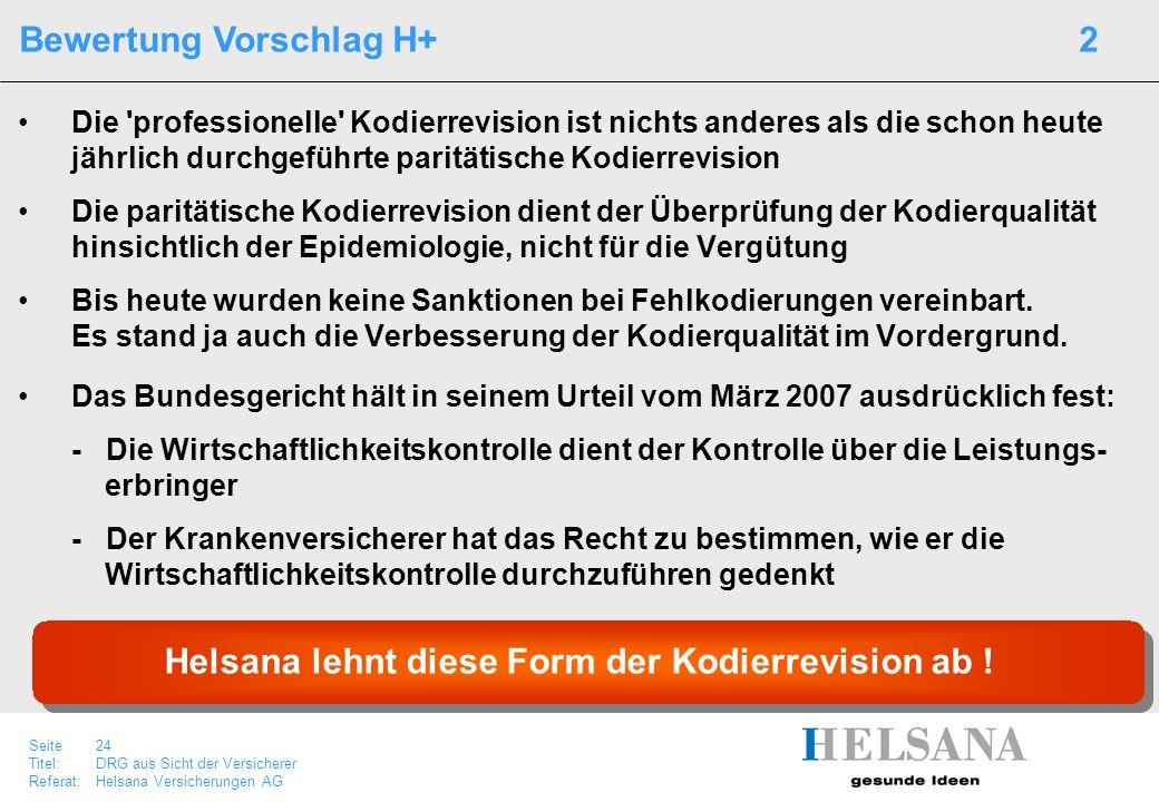 Helsana lehnt diese Form der Kodierrevision ab !