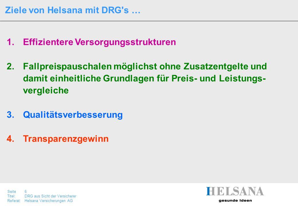 Ziele von Helsana mit DRG s …
