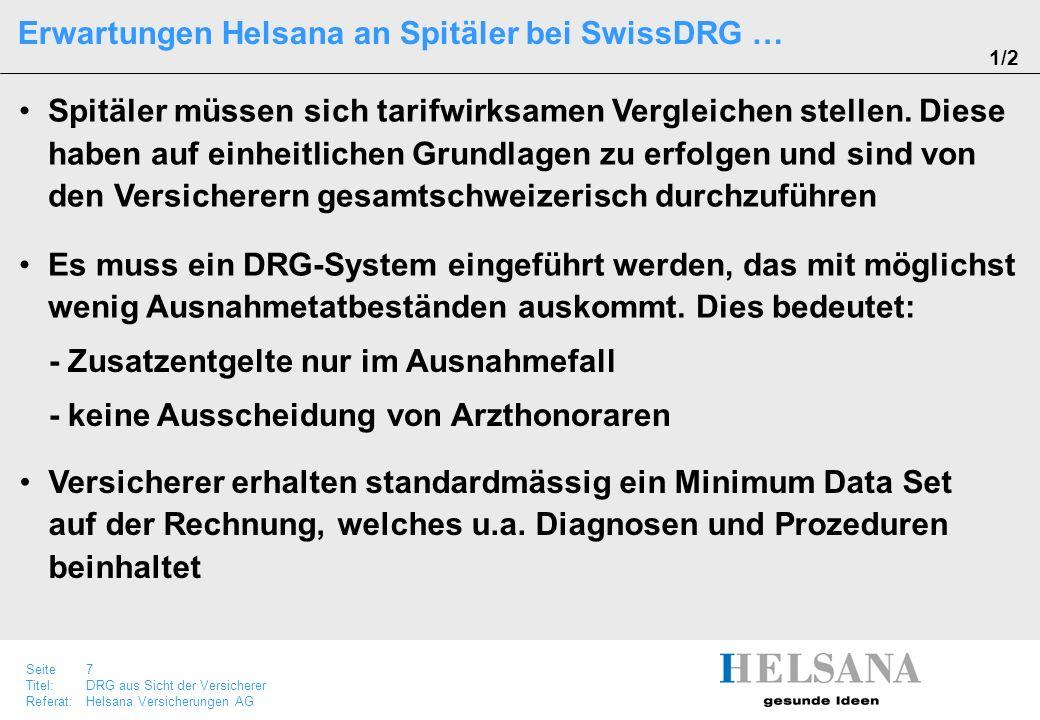 Erwartungen Helsana an Spitäler bei SwissDRG …