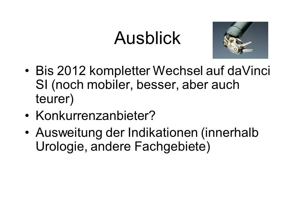Ausblick Bis 2012 kompletter Wechsel auf daVinci SI (noch mobiler, besser, aber auch teurer) Konkurrenzanbieter