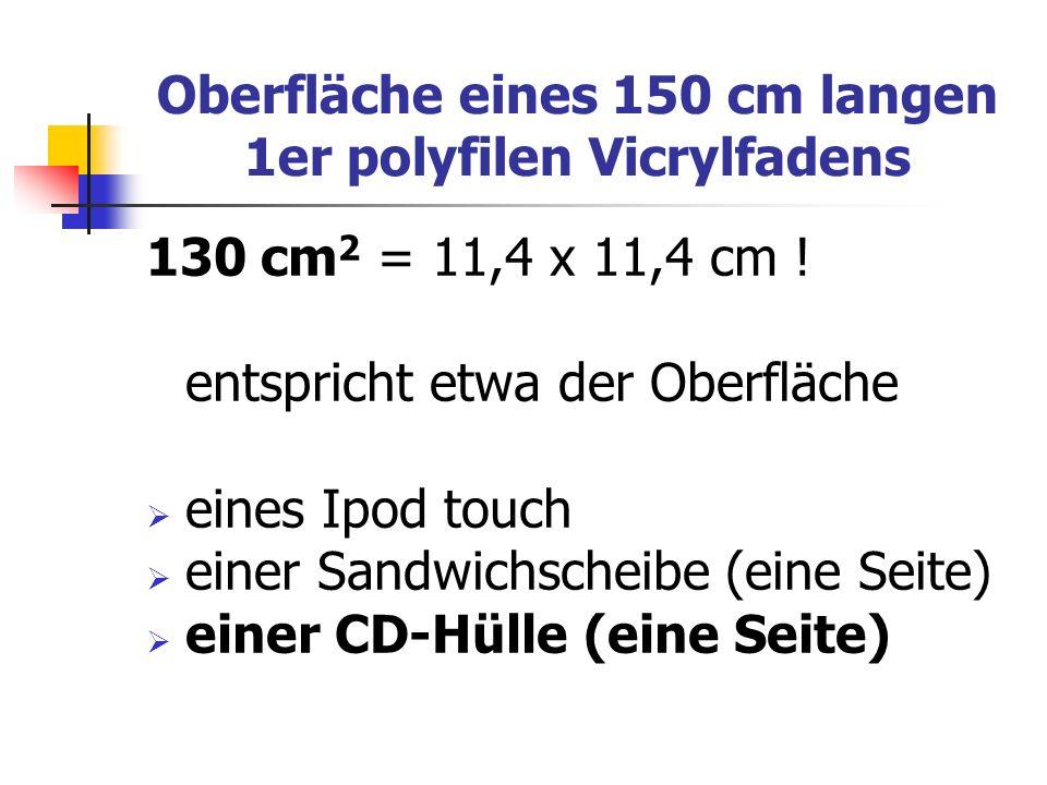 Oberfläche eines 150 cm langen 1er polyfilen Vicrylfadens