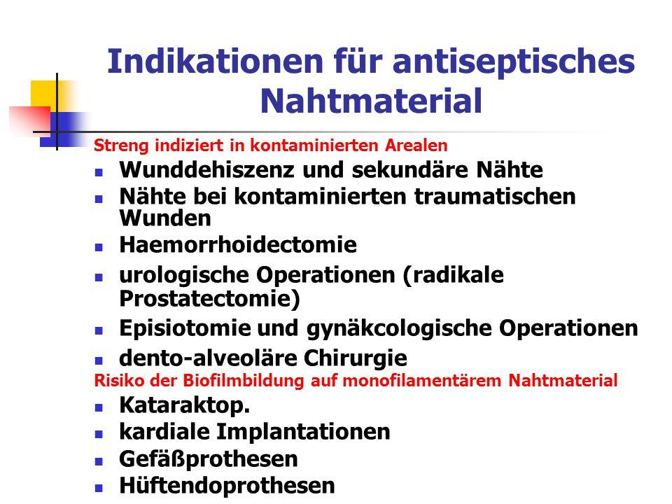 Indikationen für antiseptisches Nahtmaterial