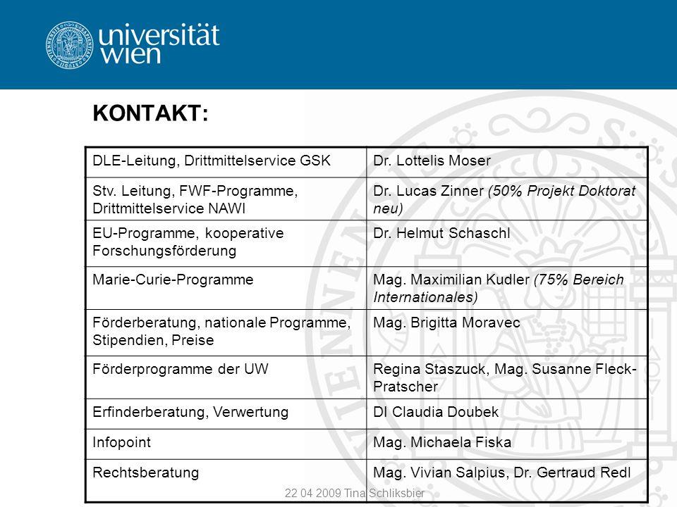 KONTAKT: DLE-Leitung, Drittmittelservice GSK Dr. Lottelis Moser