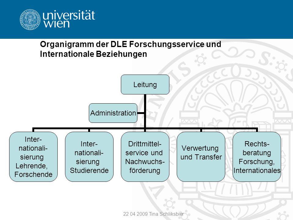Organigramm der DLE Forschungsservice und Internationale Beziehungen