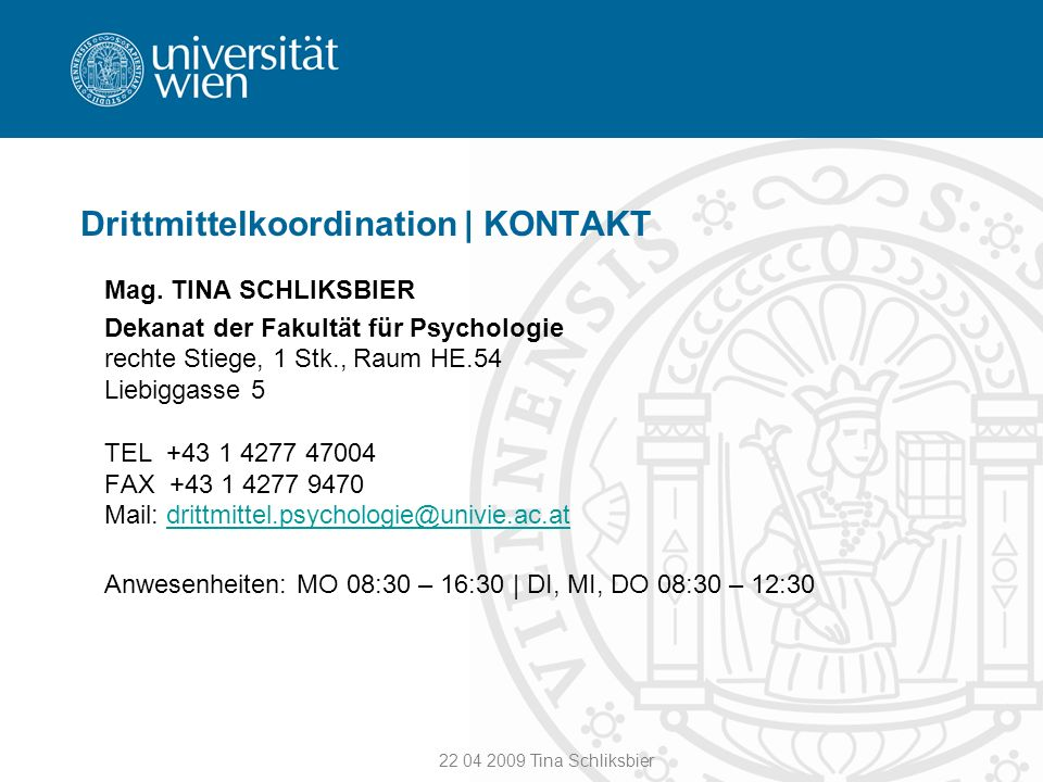 Drittmittelkoordination | KONTAKT