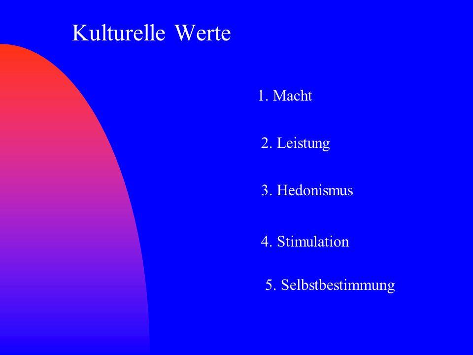 Kulturelle Werte 1. Macht 2. Leistung 3. Hedonismus 4. Stimulation