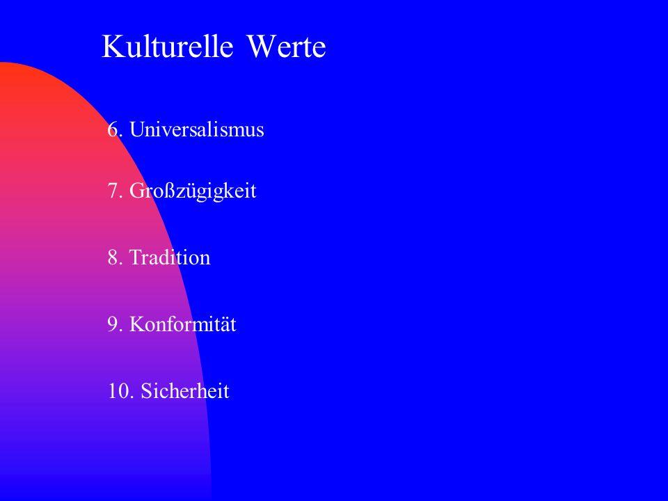 Kulturelle Werte 6. Universalismus 7. Großzügigkeit 8. Tradition