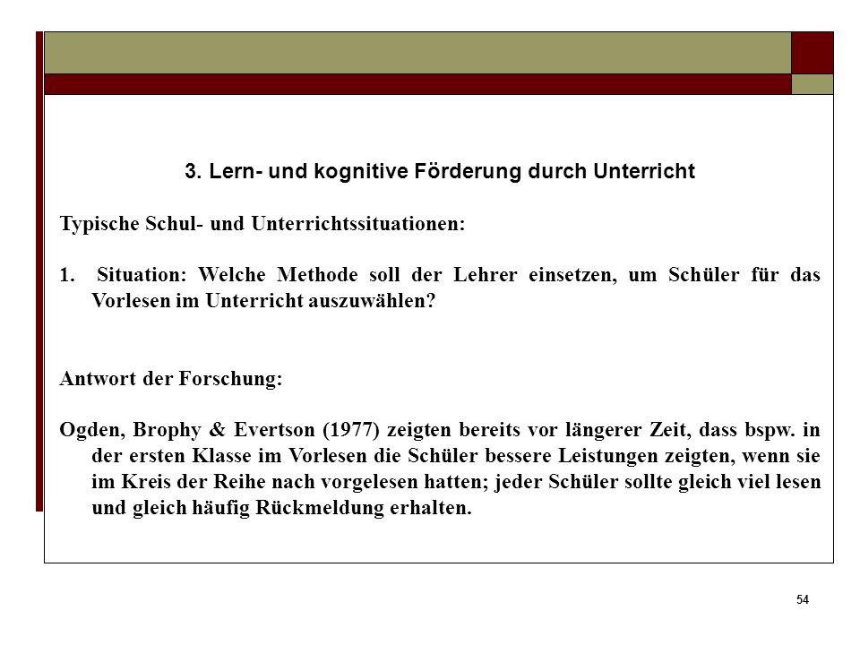 3. Lern- und kognitive Förderung durch Unterricht