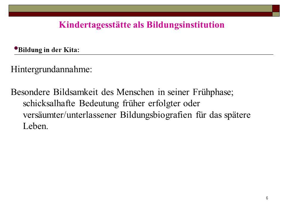 Kindertagesstätte als Bildungsinstitution