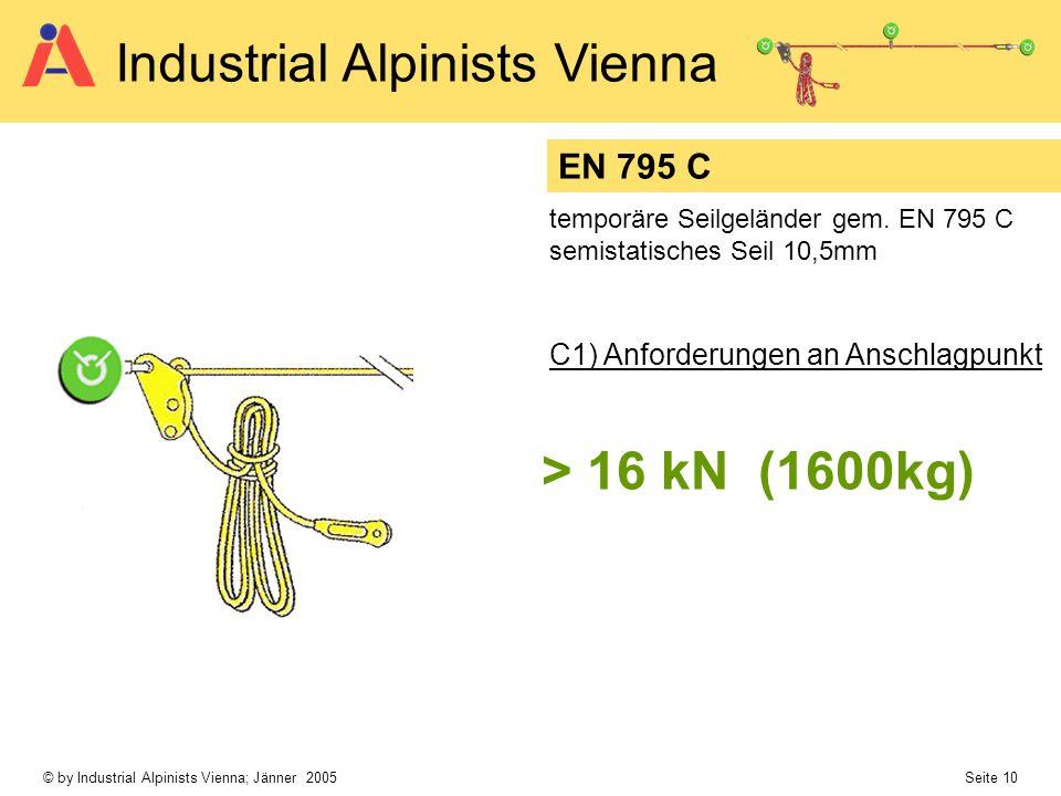 > 16 kN (1600kg) EN 795 C C1) Anforderungen an Anschlagpunkt
