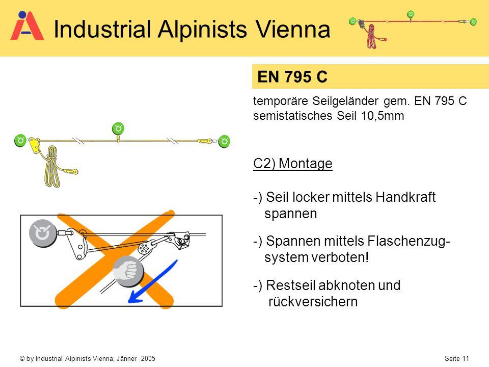 EN 795 C C2) Montage -) Seil locker mittels Handkraft spannen