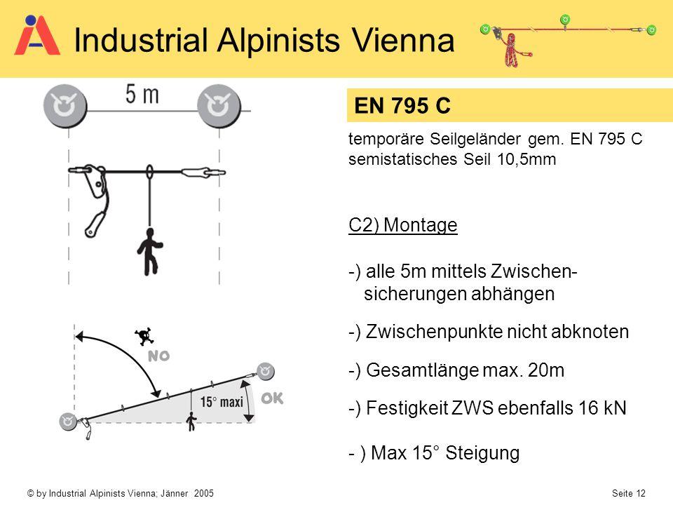 EN 795 C C2) Montage -) alle 5m mittels Zwischen- sicherungen abhängen