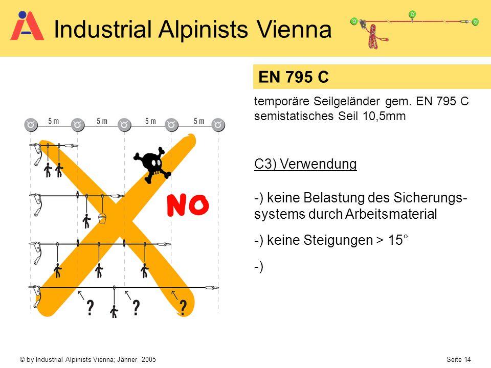 EN 795 C temporäre Seilgeländer gem. EN 795 C. semistatisches Seil 10,5mm. C3) Verwendung.
