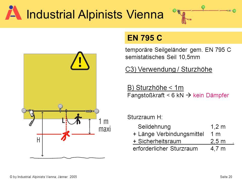 EN 795 C C3) Verwendung / Sturzhöhe B) Sturzhöhe < 1m