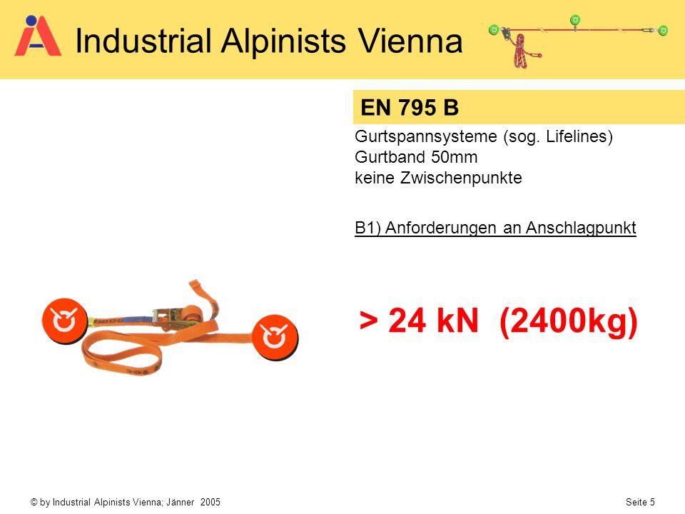 EN 795 B Gurtspannsysteme (sog. Lifelines) Gurtband 50mm. keine Zwischenpunkte. B1) Anforderungen an Anschlagpunkt.
