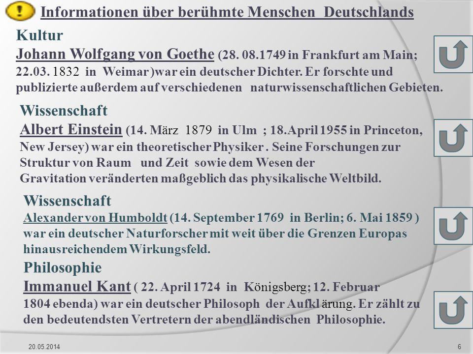 Informationen über berühmte Menschen Deutschlands