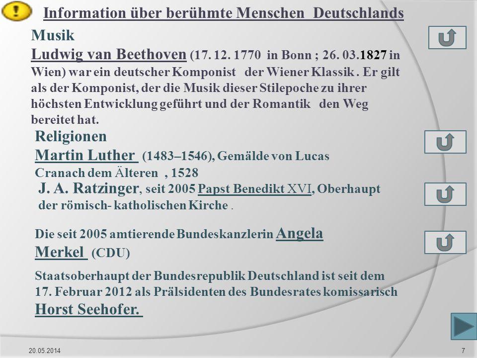 Information über berühmte Menschen Deutschlands