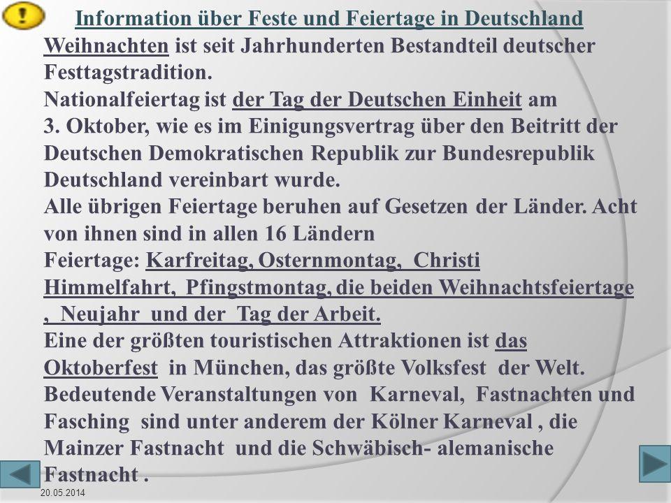 Information über Feste und Feiertage in Deutschland