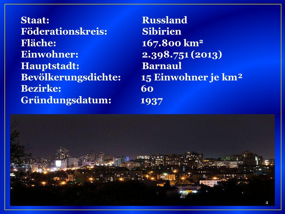Staat: Russland Föderationskreis: Sibirien. Fläche: 167.800 km2. Einwohner: 2.398.751 (2013)
