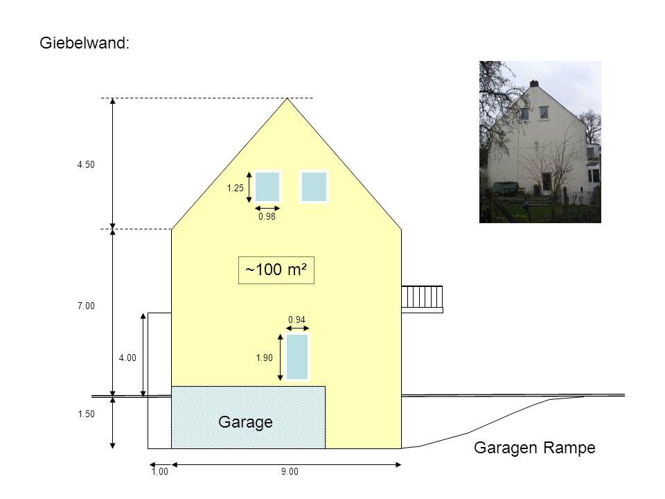 Giebelwand: ~100 m² Garage Garagen Rampe 4.50 1.25 0.98 7.00 0.94 4.00