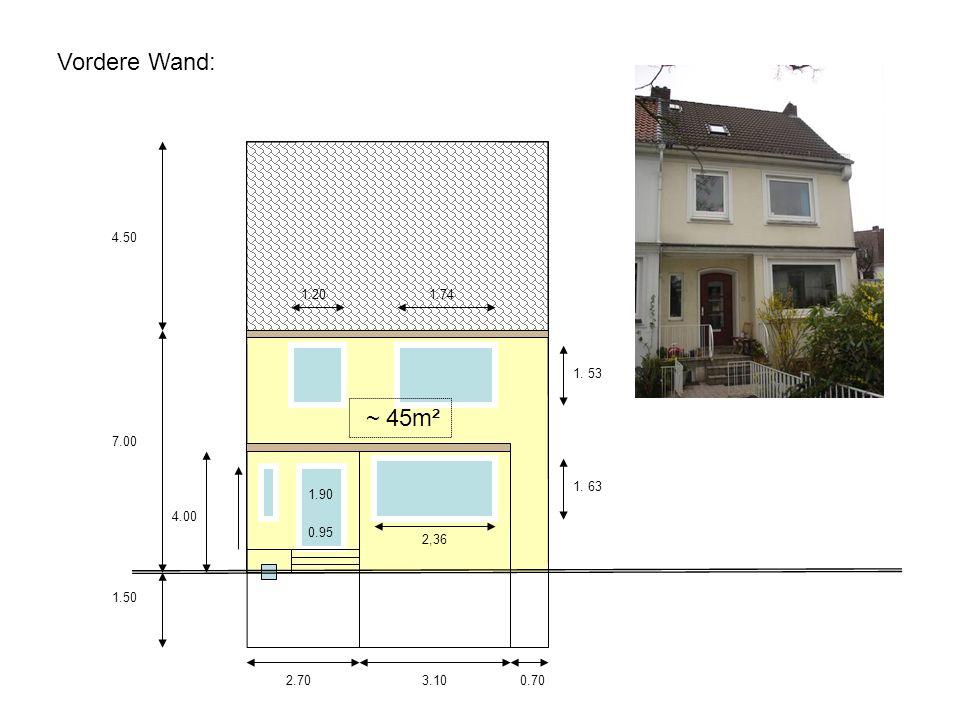 Vordere Wand: 4.50 1.20 1.74 1. 53 ~ 45m² 7.00 1. 63 1.90 4.00 0.95 2,36 1.50 2.70 3.10 0.70