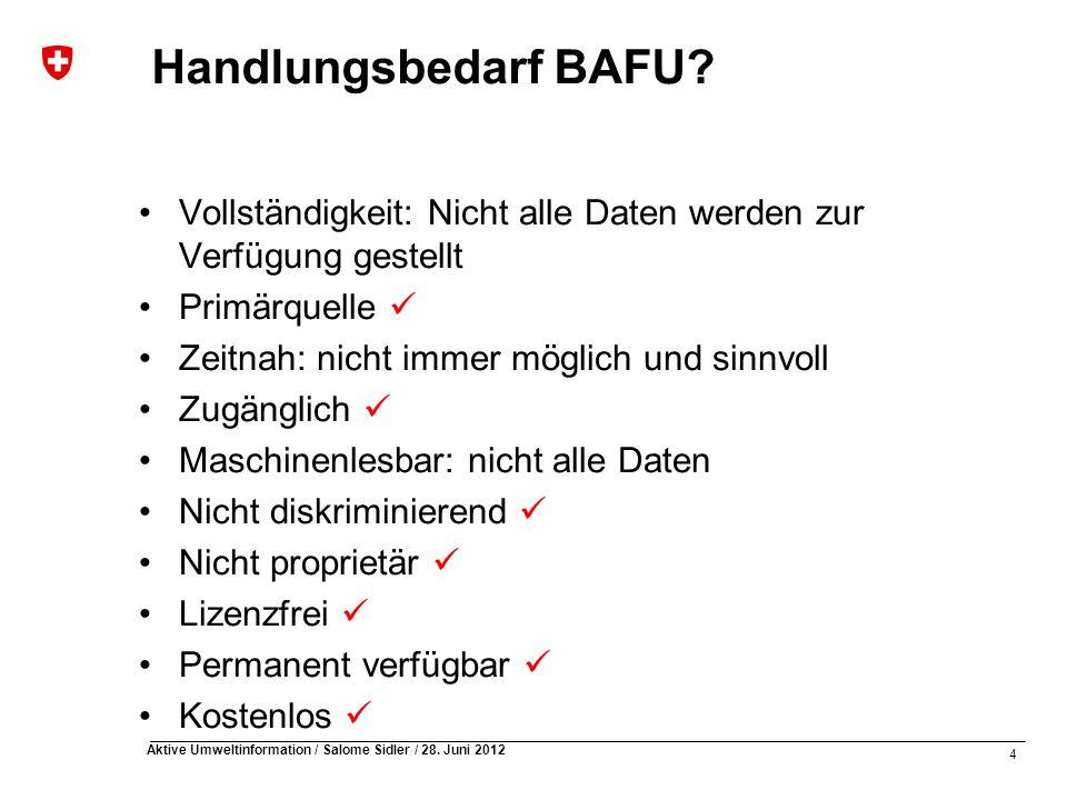 Handlungsbedarf BAFU Vollständigkeit: Nicht alle Daten werden zur Verfügung gestellt. Primärquelle 